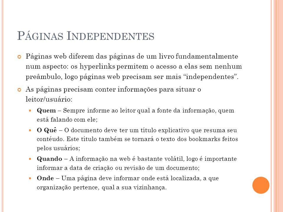 Páginas Independentes
