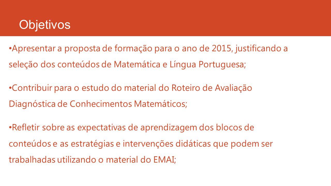 Objetivos Apresentar a proposta de formação para o ano de 2015, justificando a seleção dos conteúdos de Matemática e Língua Portuguesa;