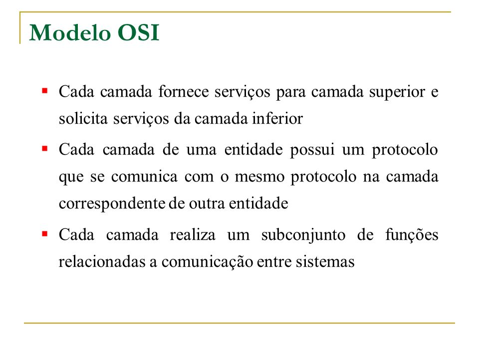 Modelo OSI Cada camada fornece serviços para camada superior e solicita serviços da camada inferior.