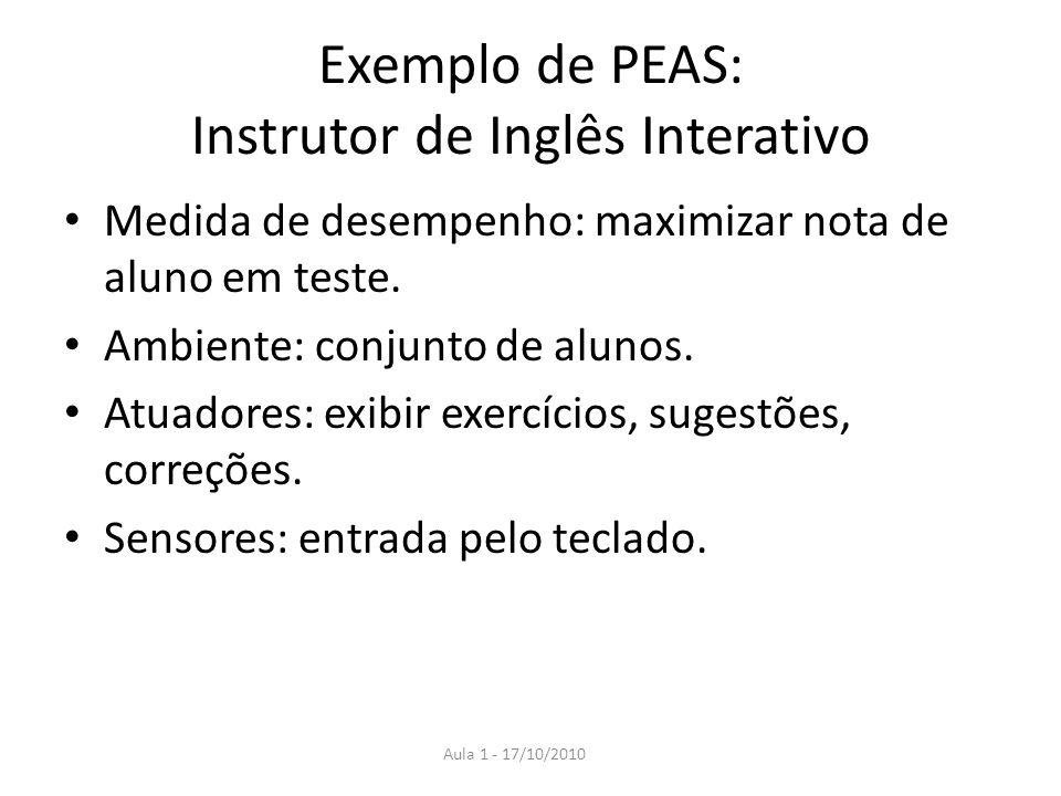 Exemplo de PEAS: Instrutor de Inglês Interativo