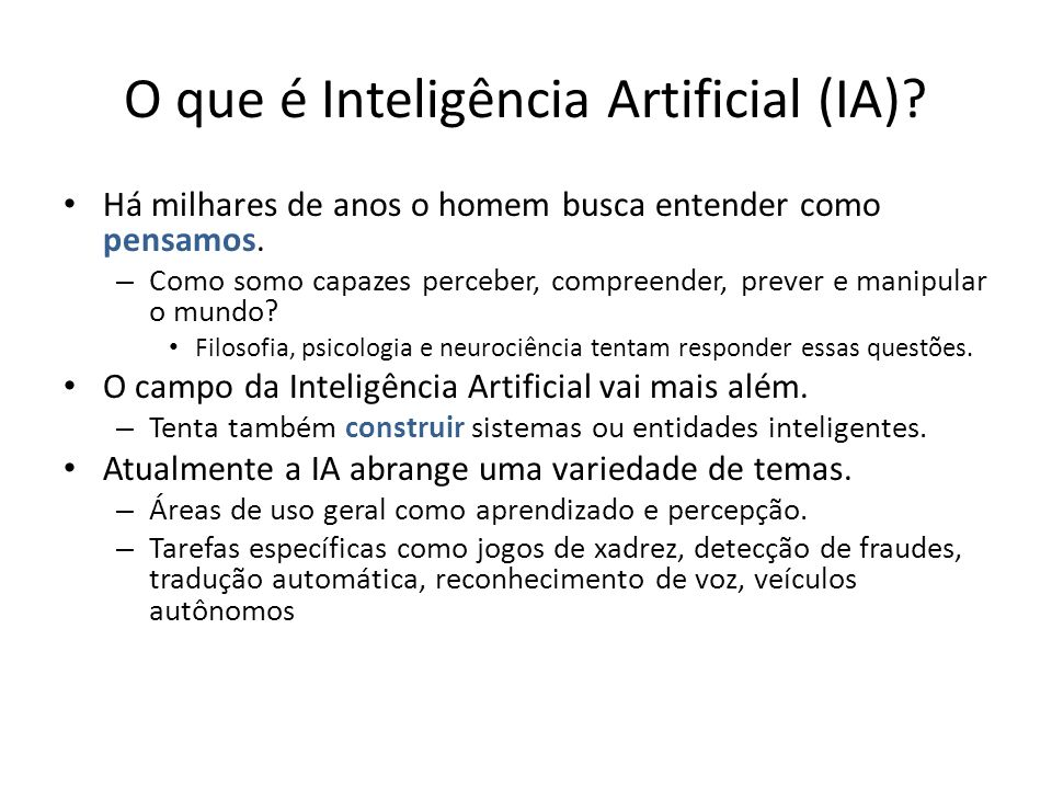O que é Inteligência Artificial (IA)