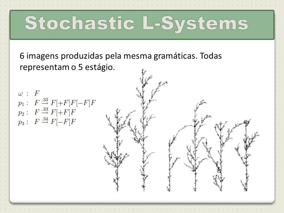 Stochastic L-Systems 6 imagens produzidas pela mesma gramáticas. Todas representam o 5 estágio.