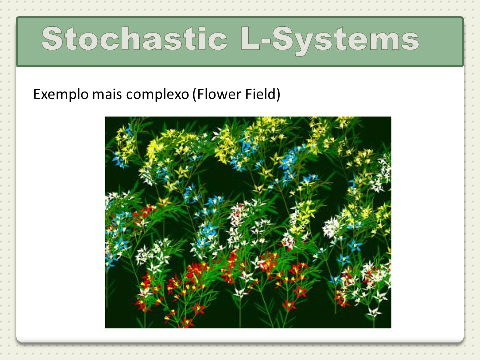 Stochastic L-Systems Exemplo mais complexo (Flower Field)