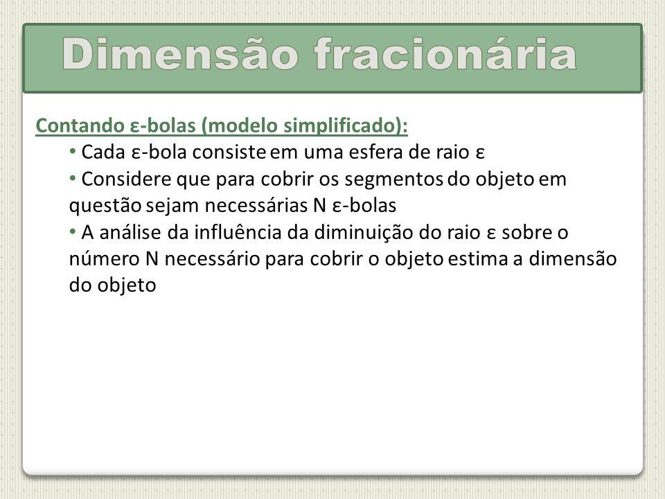 Dimensão fracionária Contando ε-bolas (modelo simplificado):