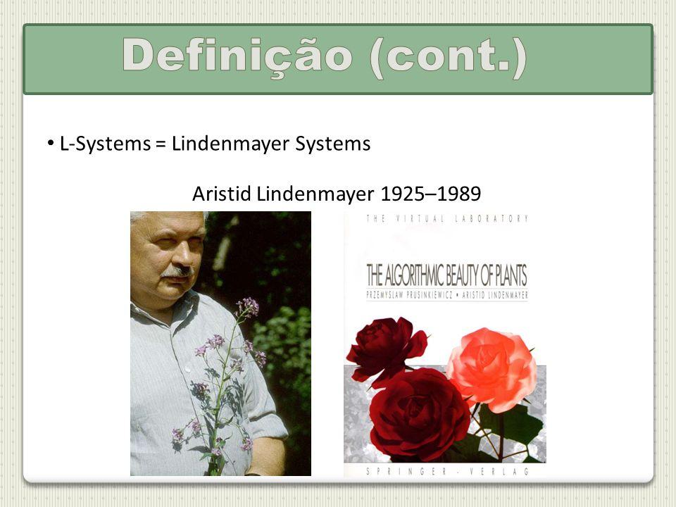 Definição (cont.) L-Systems = Lindenmayer Systems