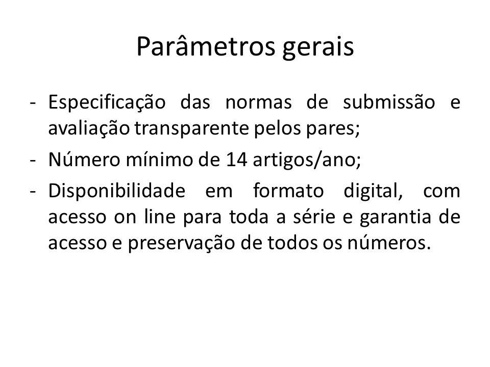 Parâmetros gerais Especificação das normas de submissão e avaliação transparente pelos pares; Número mínimo de 14 artigos/ano;