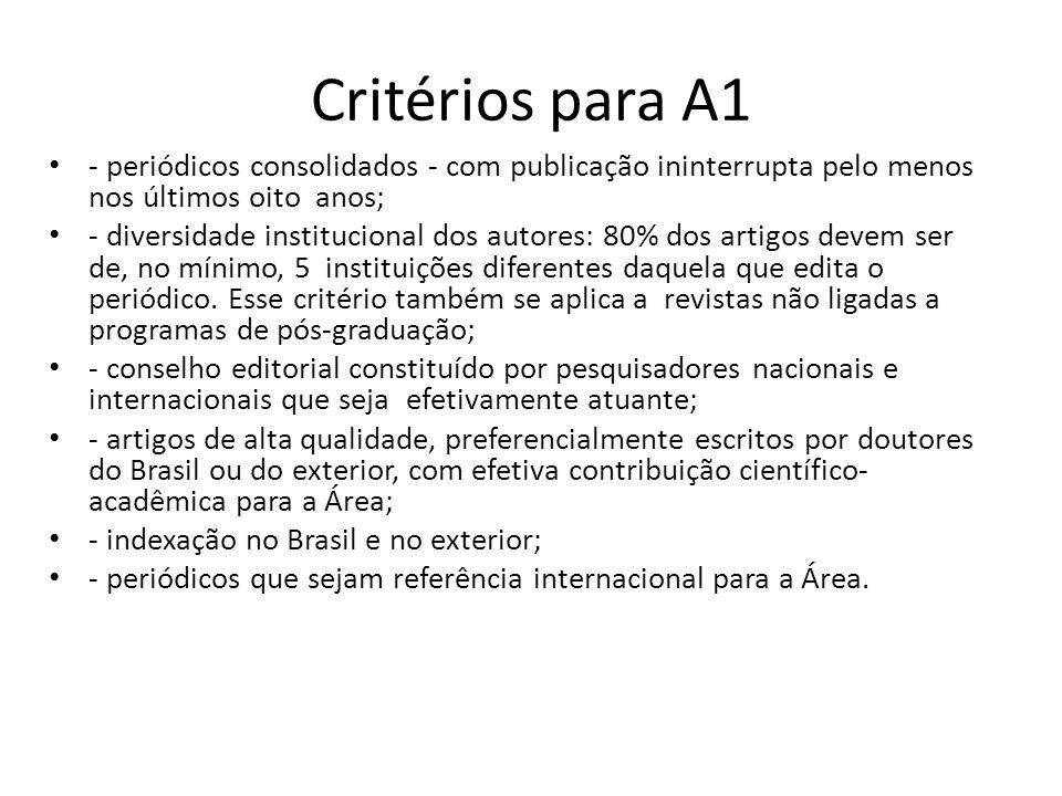 Critérios para A1 - periódicos consolidados - com publicação ininterrupta pelo menos nos últimos oito anos;