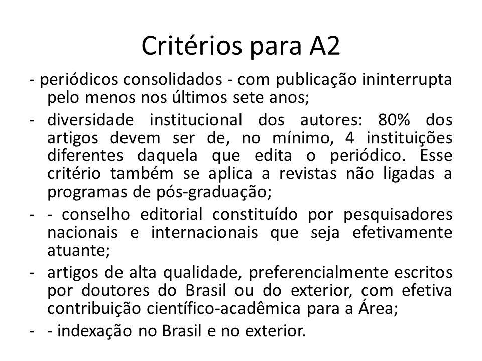 Critérios para A2 - periódicos consolidados - com publicação ininterrupta pelo menos nos últimos sete anos;