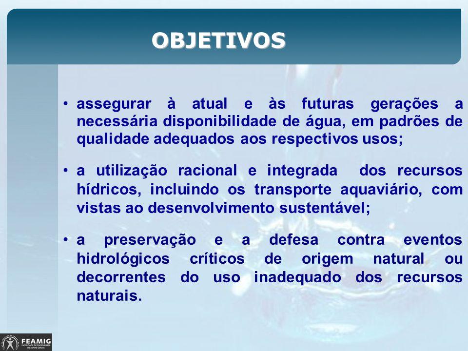 OBJETIVOS assegurar à atual e às futuras gerações a necessária disponibilidade de água, em padrões de qualidade adequados aos respectivos usos;