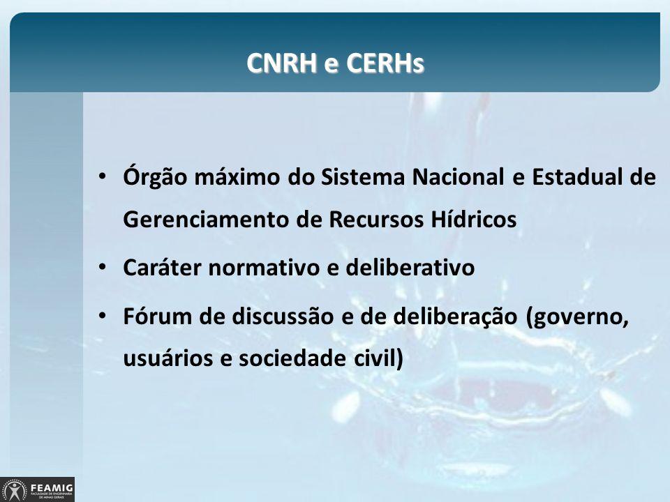 CNRH e CERHs Órgão máximo do Sistema Nacional e Estadual de Gerenciamento de Recursos Hídricos. Caráter normativo e deliberativo.