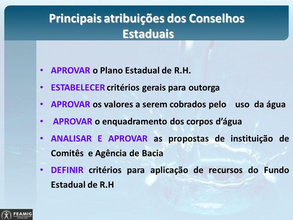 Principais atribuições dos Conselhos Estaduais