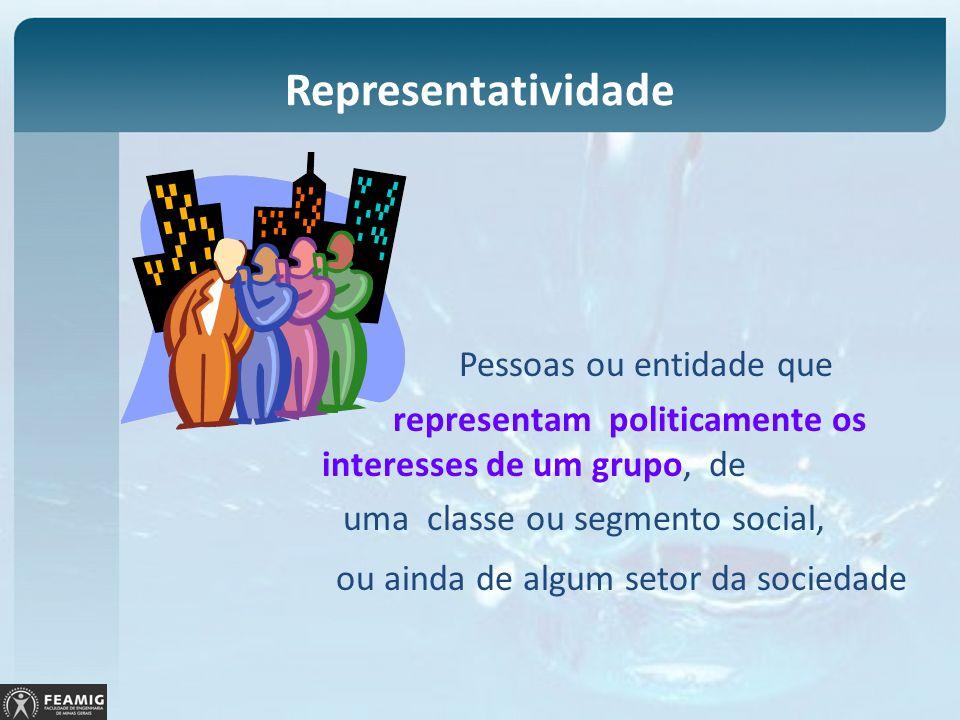Representatividade Pessoas ou entidade que