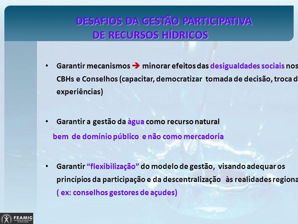 DESAFIOS DA GESTÃO PARTICIPATIVA DE RECURSOS HÍDRICOS