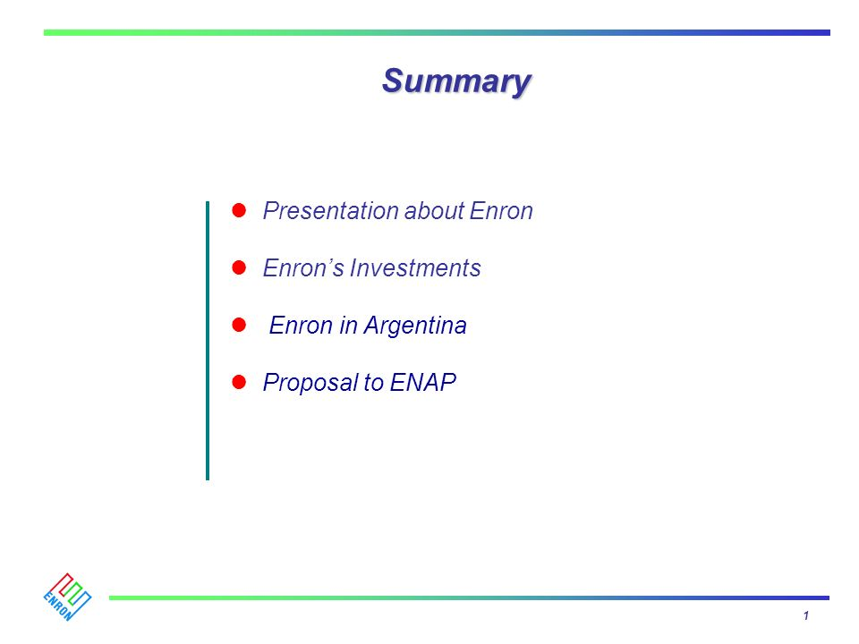 Summary Presentation about Enron Enron's Investments