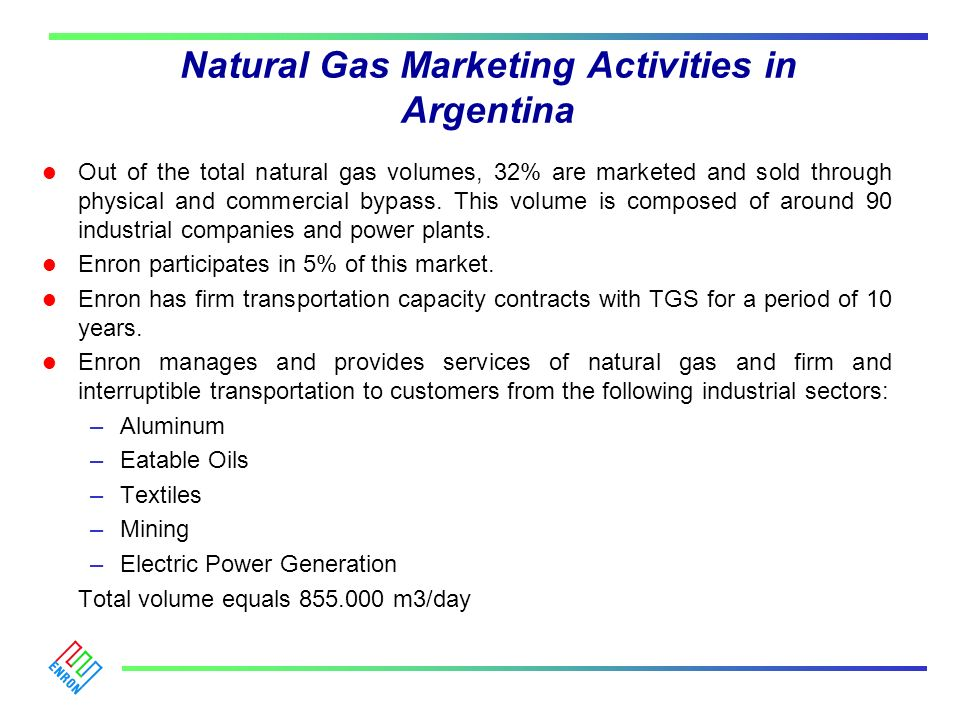 Natural Gas Marketing Activities in Argentina