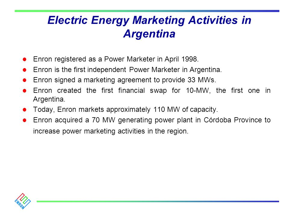 Electric Energy Marketing Activities in Argentina