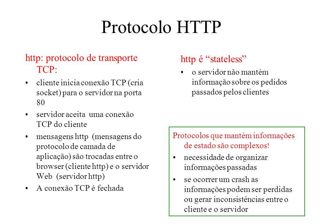 Protocolo HTTP http: protocolo de transporte TCP: http é stateless