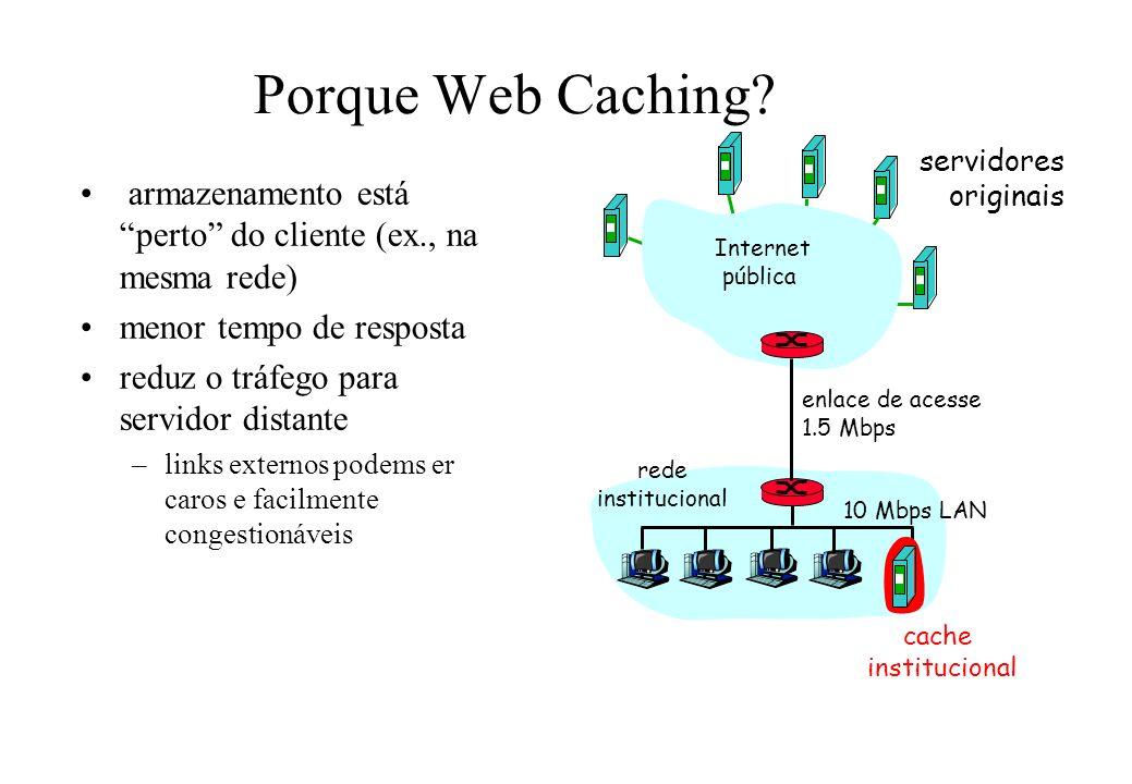 Porque Web Caching servidores. originais. armazenamento está perto do cliente (ex., na mesma rede)