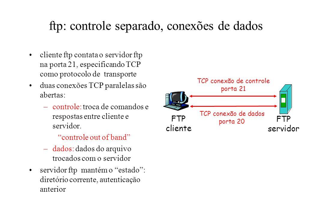 ftp: controle separado, conexões de dados