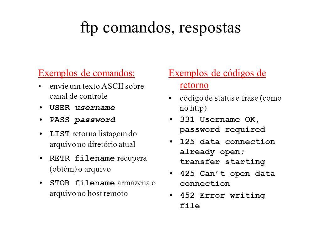 ftp comandos, respostas