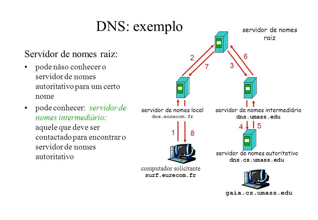 DNS: exemplo Servidor de nomes raiz: