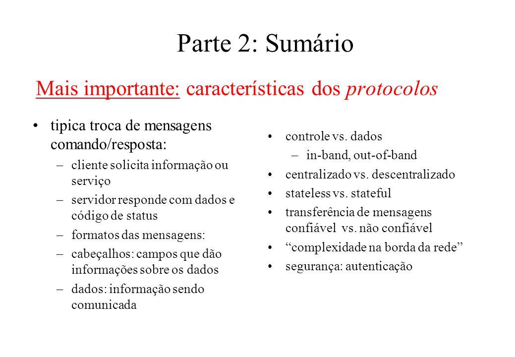 Parte 2: Sumário Mais importante: características dos protocolos