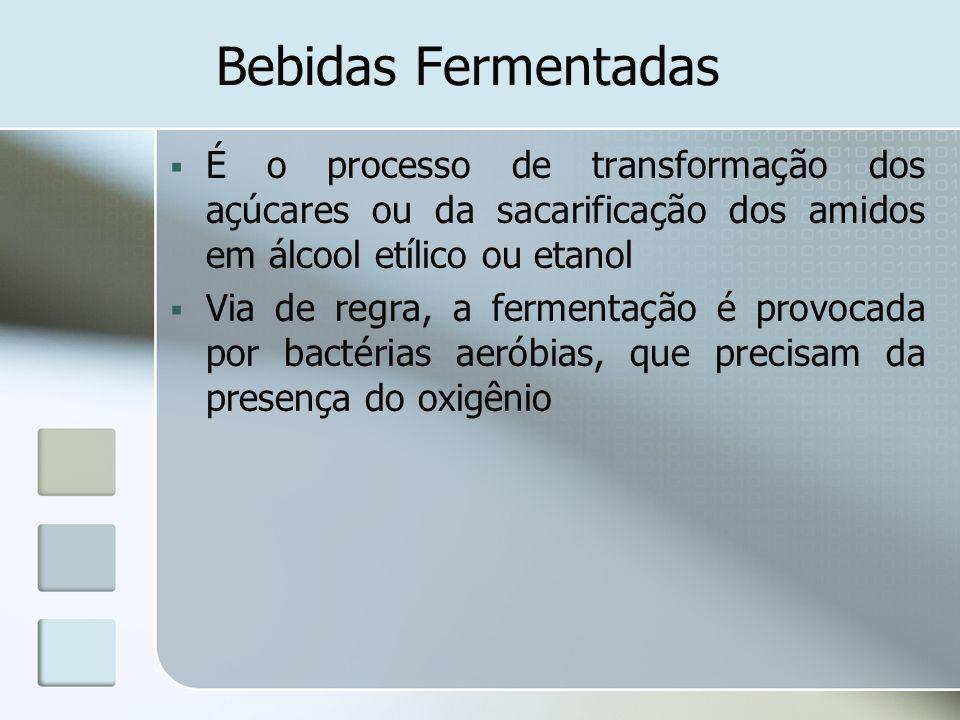 Bebidas Fermentadas É o processo de transformação dos açúcares ou da sacarificação dos amidos em álcool etílico ou etanol.