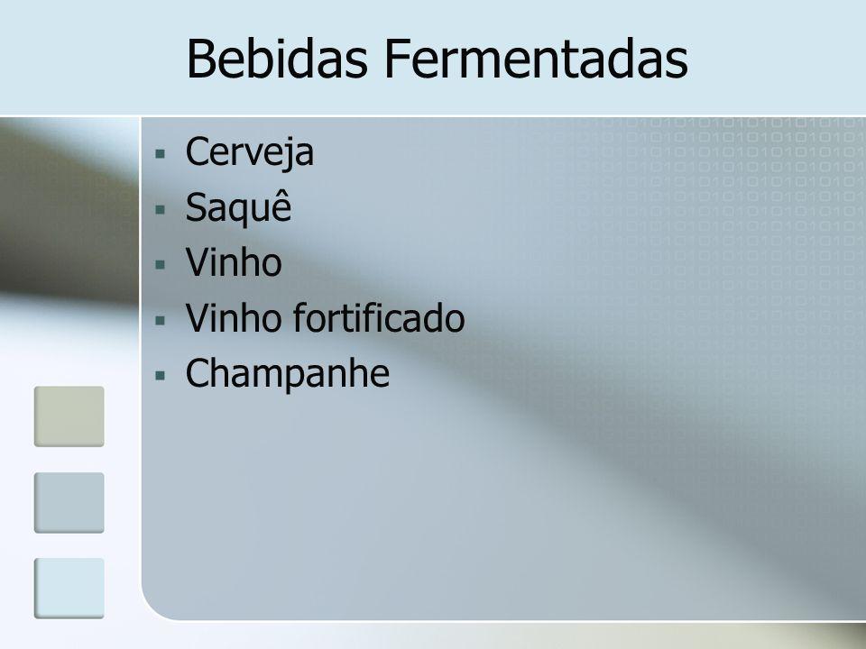 Bebidas Fermentadas Cerveja Saquê Vinho Vinho fortificado Champanhe