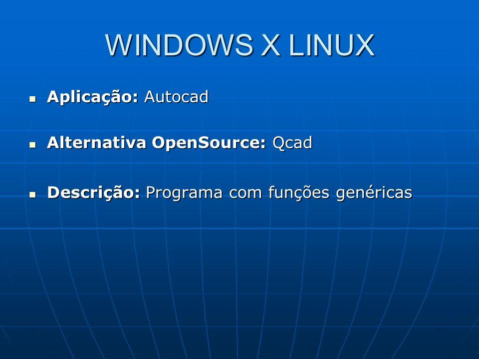 WINDOWS X LINUX Aplicação: Autocad Alternativa OpenSource: Qcad