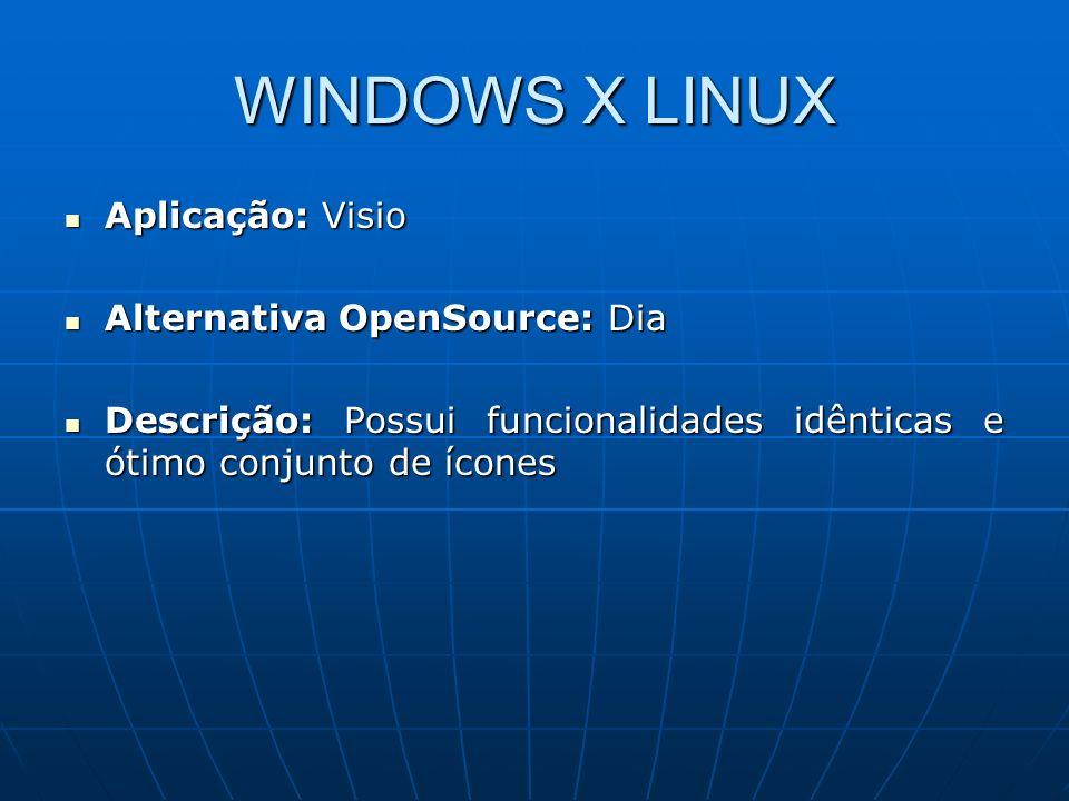 WINDOWS X LINUX Aplicação: Visio Alternativa OpenSource: Dia