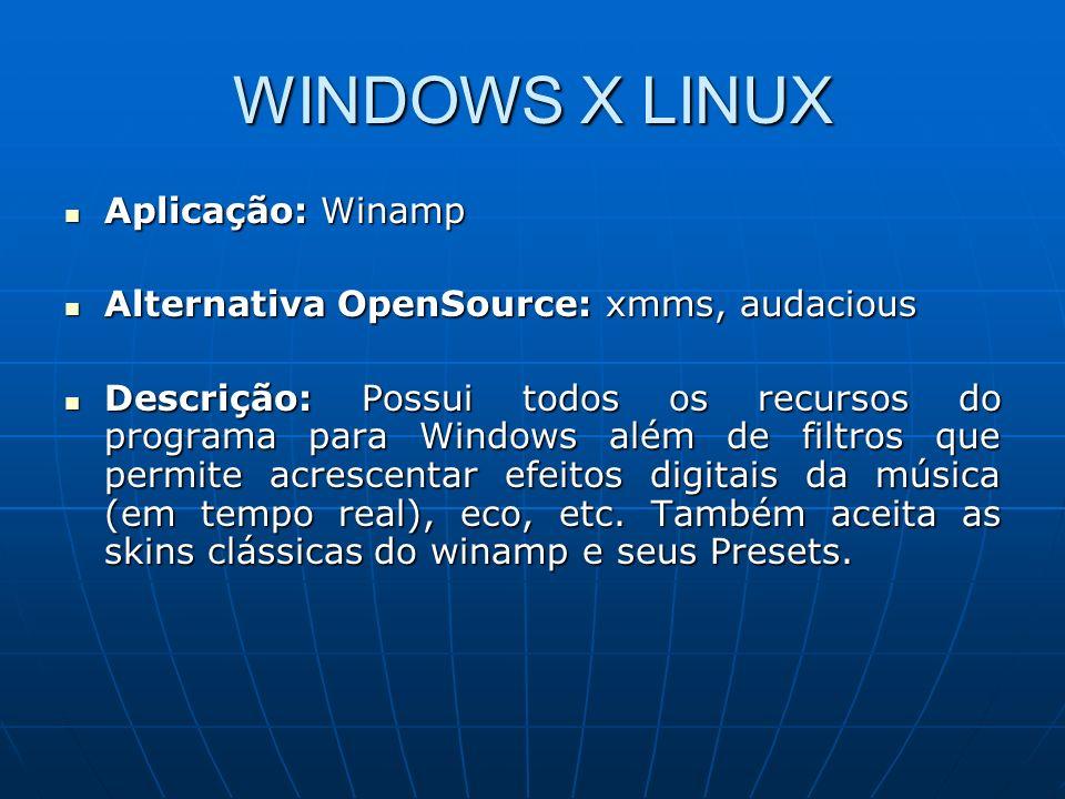 WINDOWS X LINUX Aplicação: Winamp