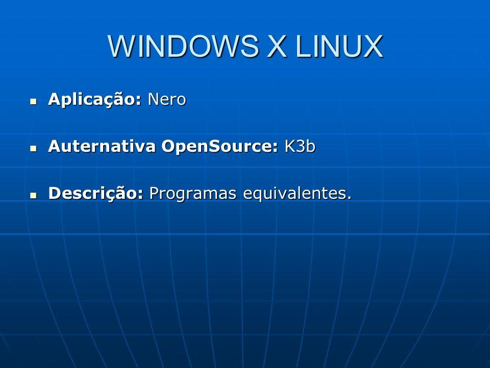 WINDOWS X LINUX Aplicação: Nero Auternativa OpenSource: K3b