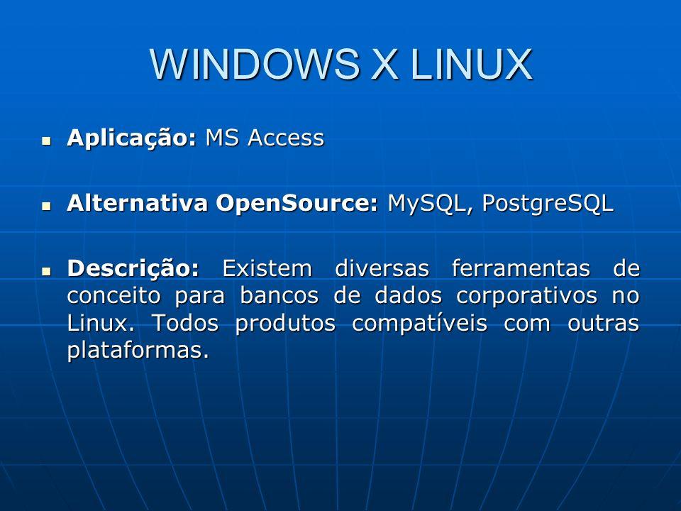 WINDOWS X LINUX Aplicação: MS Access