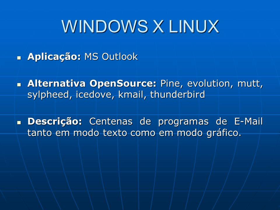 WINDOWS X LINUX Aplicação: MS Outlook
