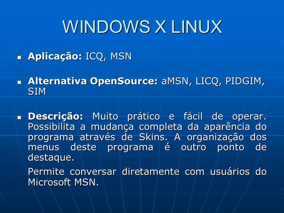 WINDOWS X LINUX Aplicação: ICQ, MSN. Alternativa OpenSource: aMSN, LICQ, PIDGIM, SIM.