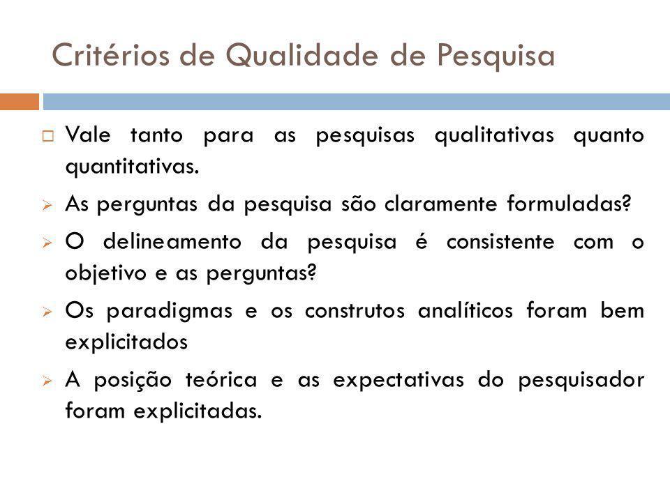 Critérios de Qualidade de Pesquisa