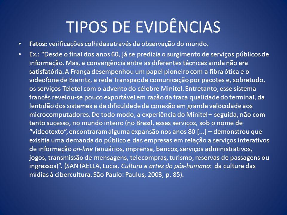 TIPOS DE EVIDÊNCIAS Fatos: verificações colhidas através da observação do mundo.