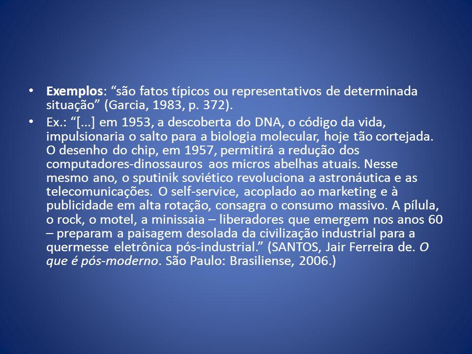 Exemplos: são fatos típicos ou representativos de determinada situação (Garcia, 1983, p. 372).