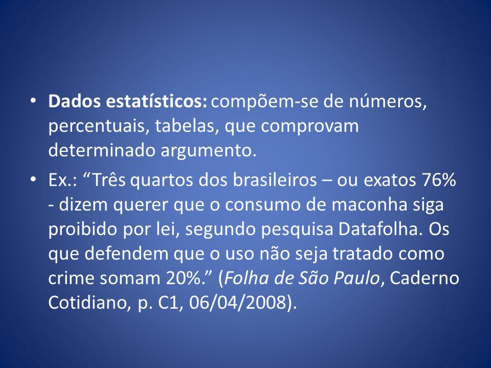Dados estatísticos: compõem-se de números, percentuais, tabelas, que comprovam determinado argumento.