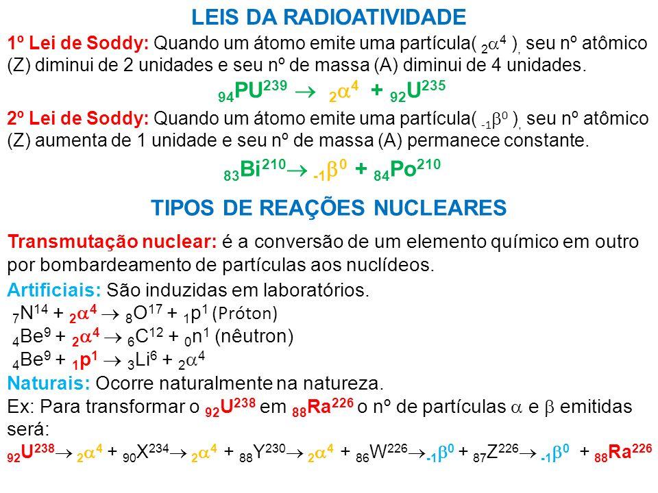 LEIS DA RADIOATIVIDADE TIPOS DE REAÇÕES NUCLEARES