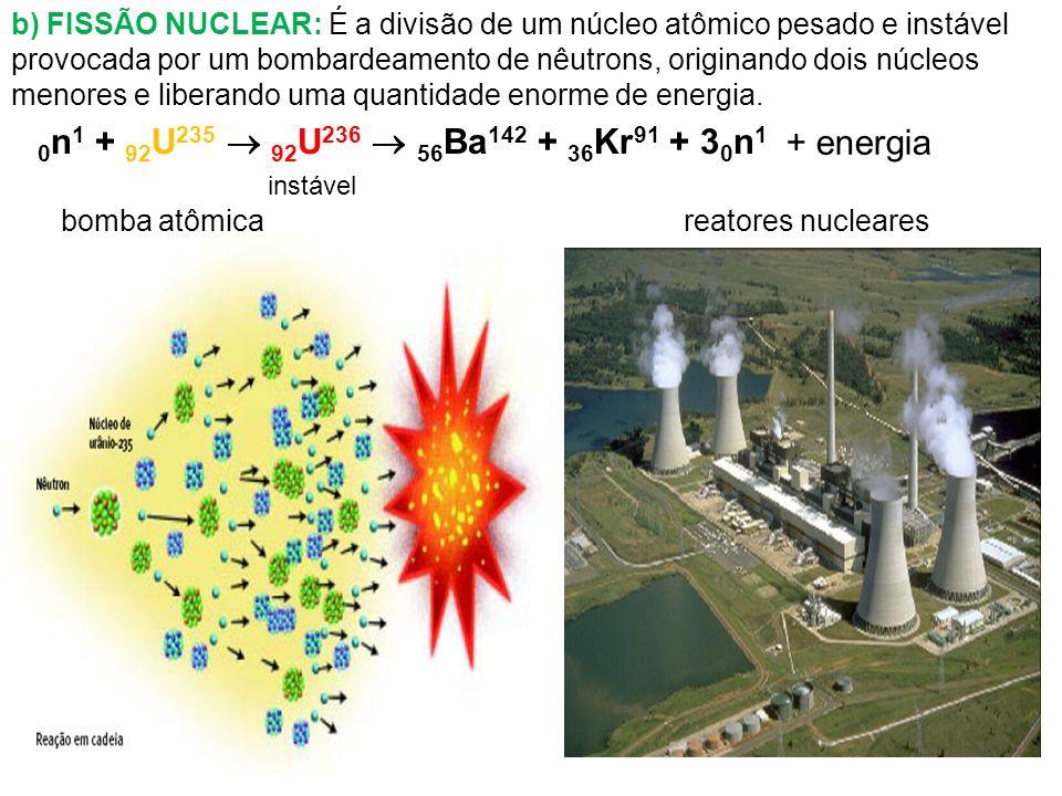 0n1 + 92U235  92U236  56Ba142 + 36Kr91 + 30n1 + energia