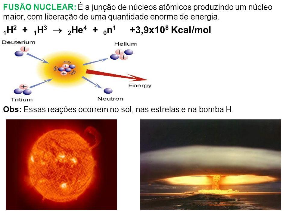 FUSÃO NUCLEAR: É a junção de núcleos atômicos produzindo um núcleo maior, com liberação de uma quantidade enorme de energia.