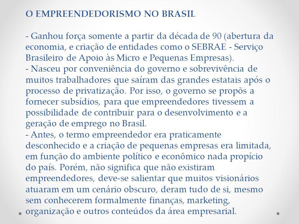 O EMPREENDEDORISMO NO BRASIL - Ganhou força somente a partir da década de 90 (abertura da economia, e criação de entidades como o SEBRAE - Serviço Brasileiro de Apoio às Micro e Pequenas Empresas).