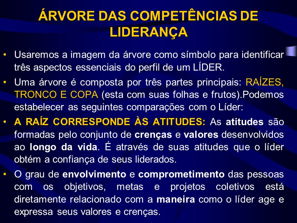 ÁRVORE DAS COMPETÊNCIAS DE LIDERANÇA