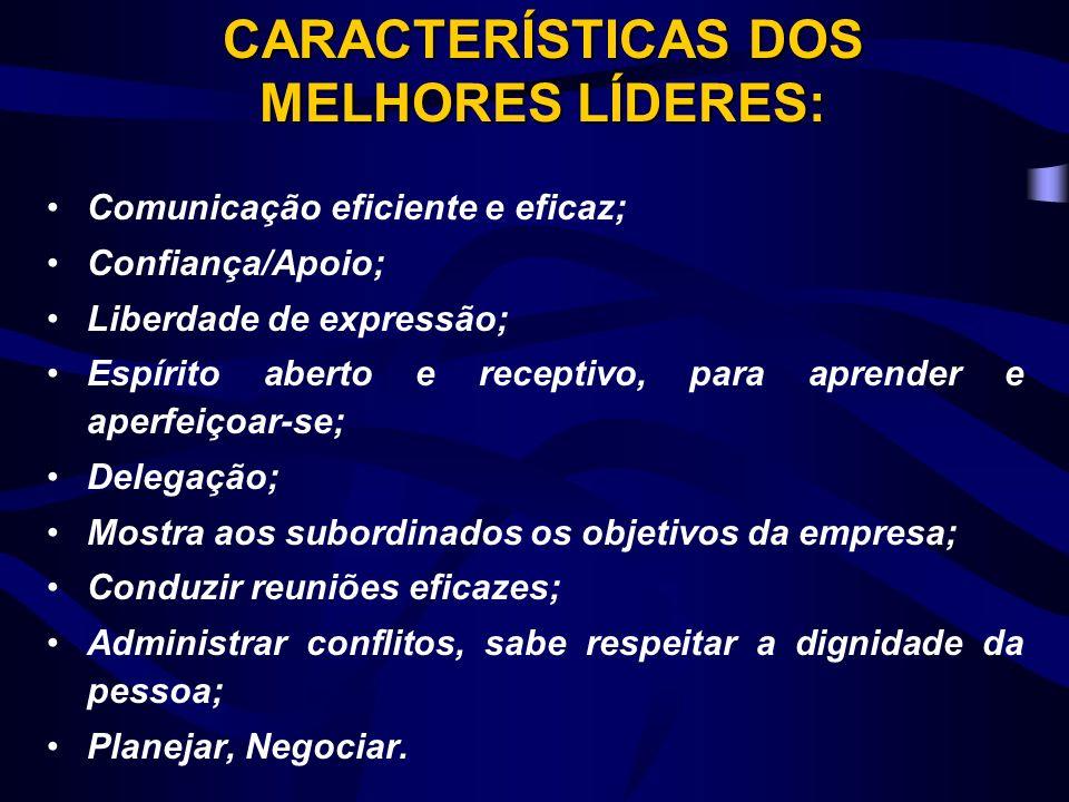 CARACTERÍSTICAS DOS MELHORES LÍDERES: