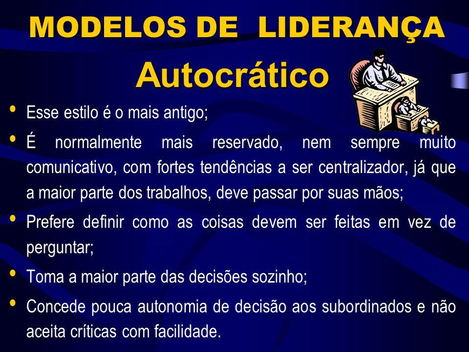 Autocrático MODELOS DE LIDERANÇA Esse estilo é o mais antigo;