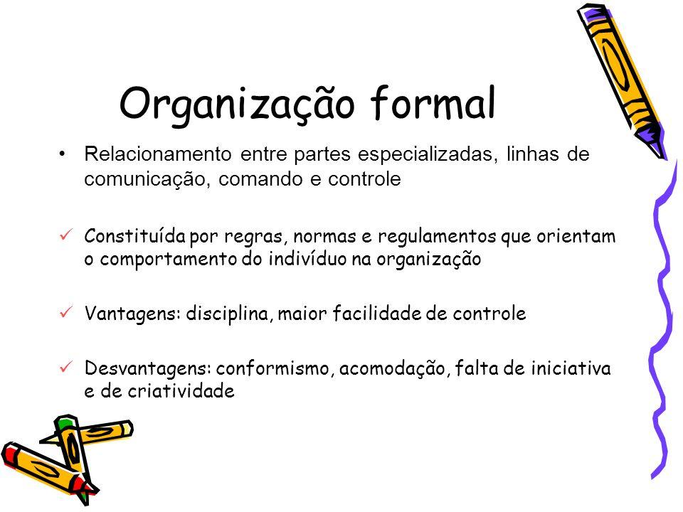 Organização formal Relacionamento entre partes especializadas, linhas de comunicação, comando e controle.