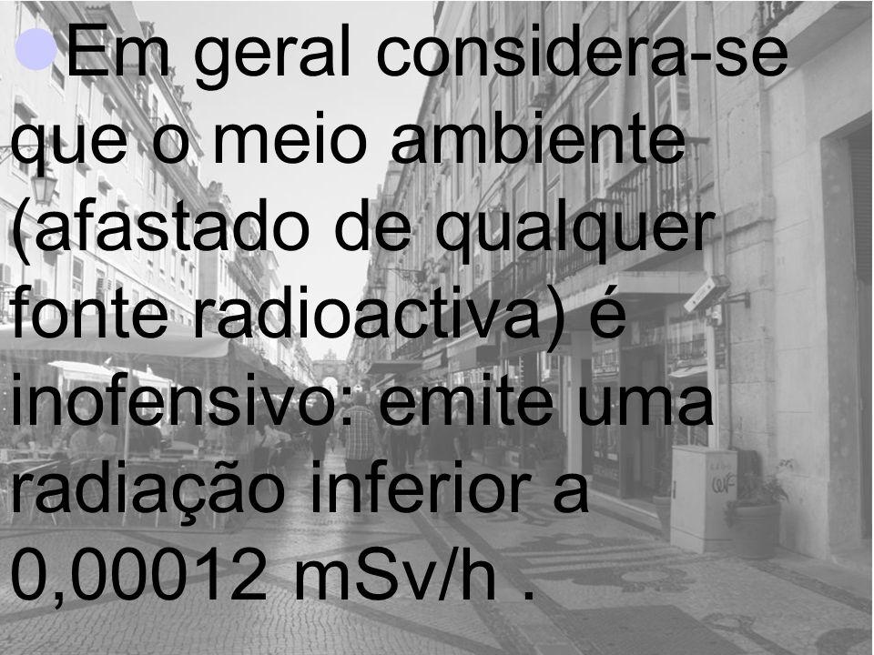 Em geral considera-se que o meio ambiente (afastado de qualquer fonte radioactiva) é inofensivo: emite uma radiação inferior a 0,00012 mSv/h .