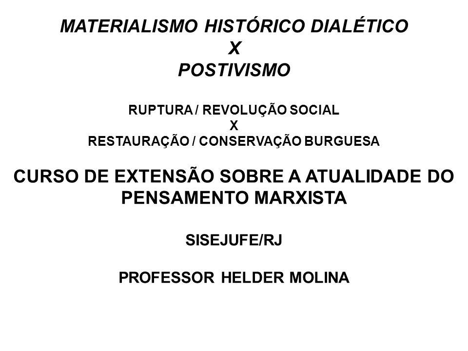 MATERIALISMO HISTÓRICO DIALÉTICO X POSTIVISMO