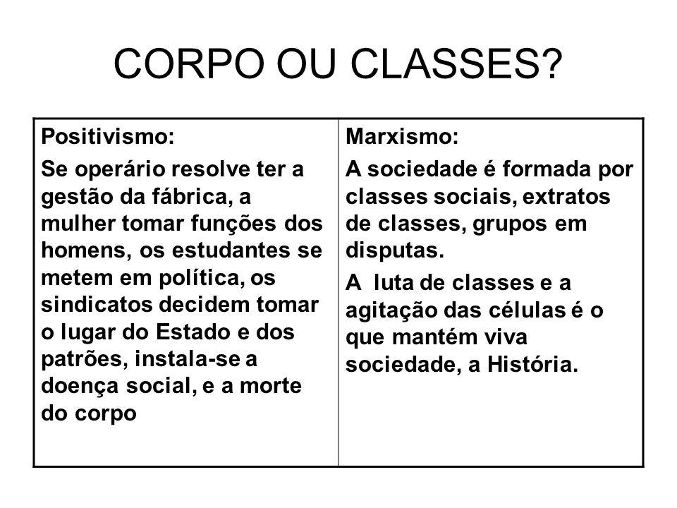CORPO OU CLASSES Positivismo: